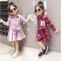 New Print Baby Girls Plaid Dress Shirt Children Spring Autumn Cotton Clothes Long Sleeve Kids Princess College Style Vestidos
