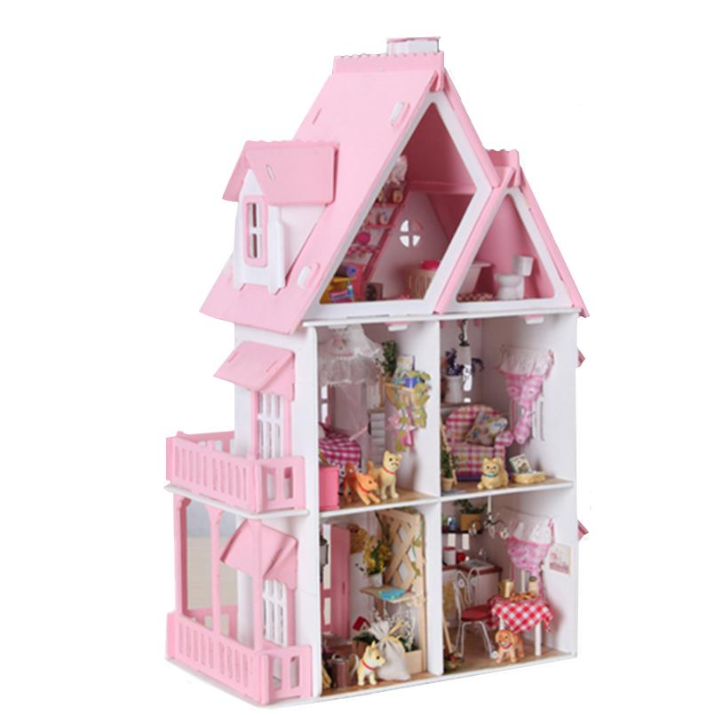 Perabot DIY Doll House Wodden Miniatura Doll Houses Furniture Kit - Anak patung dan aksesori - Foto 2