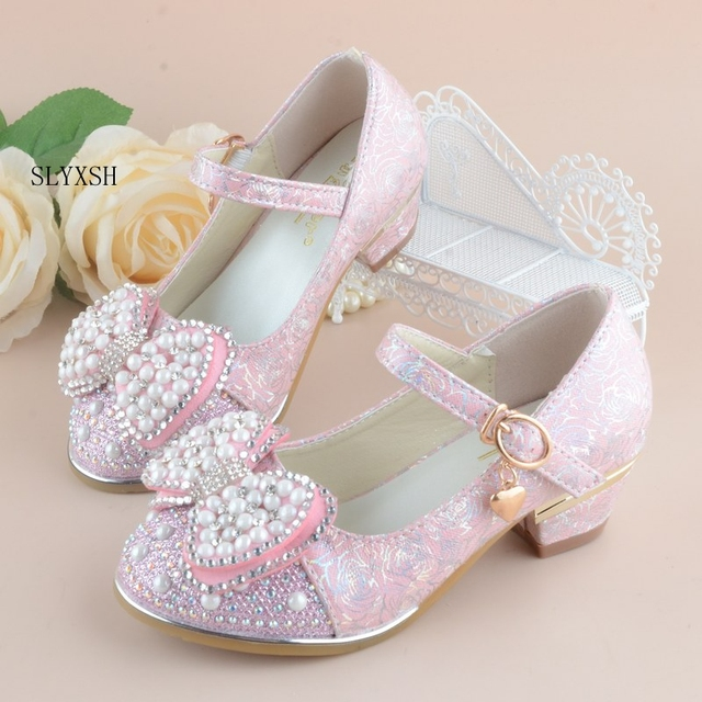 Summer 2018 New Children Princess Sandals Kids Girls Wedding Shoes High Heels Dress Shoes Party Shoes For Girls Leather Bowtie
