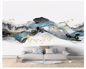 beibehang Creative stereo wallpaper flying bird new Chinese abstract blue artistic landscape background wall papers home decor