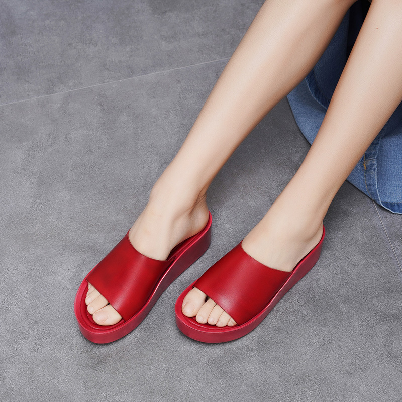 2019 VALLU Women Slippers Peep toe Flat Platform Shoes Lady Genuine Leather PU Outsole Shoes Women Handmade Design Slippers-in Slippers from Shoes    1