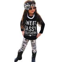 Mooistar2 #5075 Toddler Baby Kids Girls Clothes T-shirt Pants Leggings Headband 3PCS Outfits Set