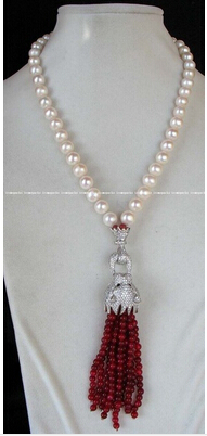 New Design 9-10mm White Round Freshwater Pearl Clasp 4mm Red Pearl Necklace 18 Factory Wholesale price Women Gift word Jewelry