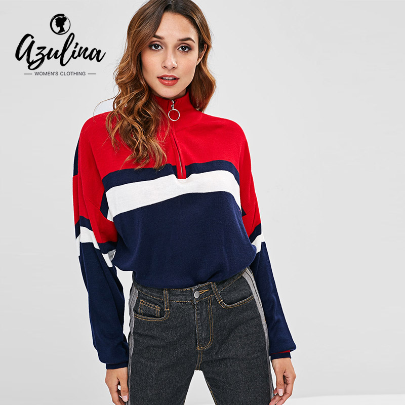 AZULINA Half Zip Contrasting Pullover Sweater Women Tops Autumn Loose  Turn-Down Collar Patchwork Female 80939bdc6