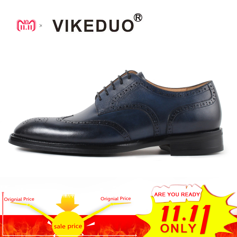 Vikeduo Classic Brogue Handmade Luxury Wedding Party Derby Shoes Business Blue Brand Male Genuine Leather Patina Men Dress Shoes цены