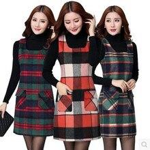 Женское платье высокого качества, модное, большое, с несколькими карманами, Осень-зима, приталенное, без рукавов, шерстяное платье-жилет для женщин