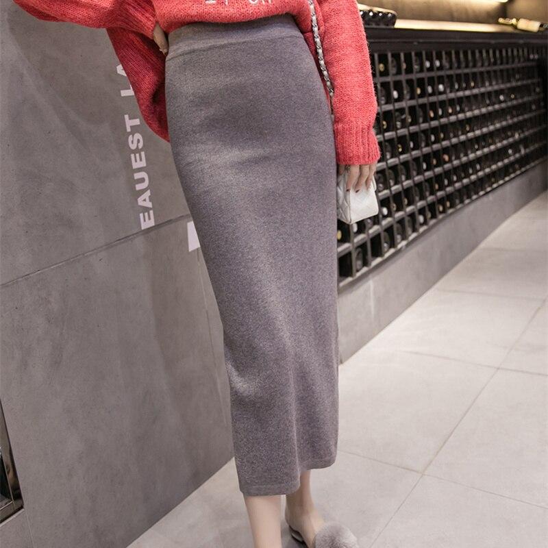 f9820a8d4738 Detail Feedback Questions about Long Skirt for Women 2018 Autumn Korean  Style Vintage Split Bodycon High Waist Knitted Pencil Skirt Black Gray saia  longa ...