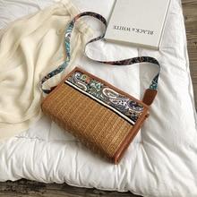 Ethnic style ribbon straw bag embroidery large capacity colorful Messenger shoulder personalized Handmade Handbag