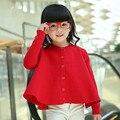 Roupas de outono 2016 das crianças sólidos de manga longa meninas do bebê tricô cardigan cape blusas para meninas crianças outerwear camisola