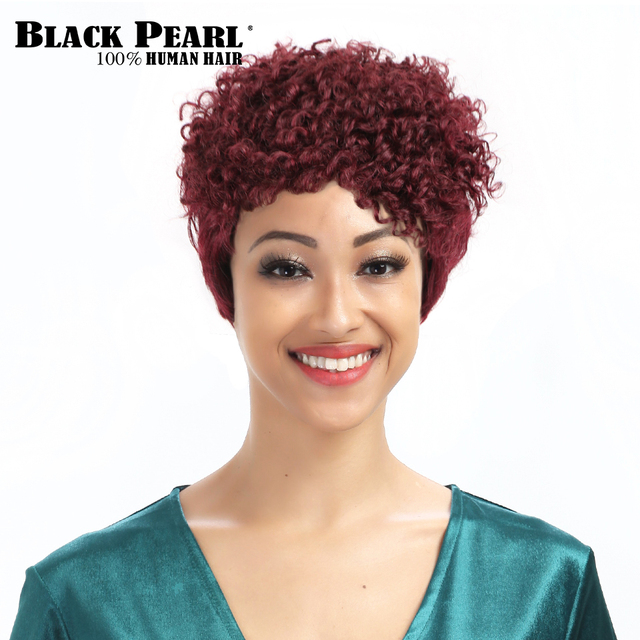 Black Pearl Wine Red Short Curly Wigs 99j Remy Short Pixie Cut 100