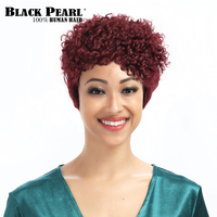 Black Pearl Wine Red Short Curly Wigs 99j Remy Short Pixie Cut 100 Human Hair Wigs