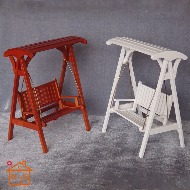 dollhouse outdoor furniture. 1/12 Scale Wooden Swing 6.8\ Dollhouse Outdoor Furniture