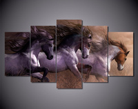 5Piece Canvas Painting Wall Art Picture Animal Horse Movie Posters Prints Artwork Cuadros Christmas Home Decoration