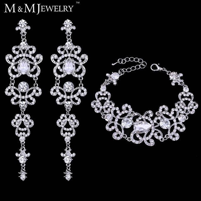 Women Crystal African Beads Bracelet Earrings Wedding Bridal Jewelry Set