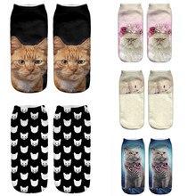 SLMVIAN, Черный кот, Новое поступление, 3D принт с милой кошкой носки повседневные Харадзюку, художественные носки, низкие носки с животными, короткие женские носки