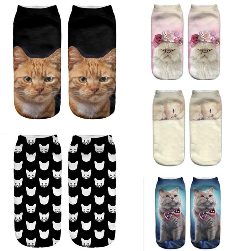 SLMVIAN Black Cat New Arrival 3D Lovely Cat Print Socks Casual Harajuku Art Socks Low Cut Animal Sock Ankle Women's Sock Short