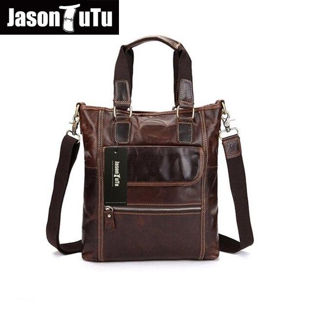 JASON TUTU Brand Men Messenger Bags 100% Genuine Leather Ipad Handbag Shoulder Bags Cowhide Men Tote Bag bolsos HN97