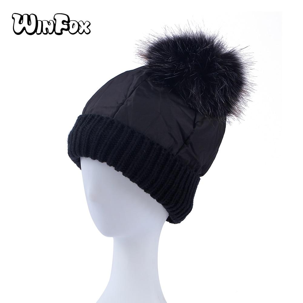 Winfox Black White Winter Women Canvas Pompom Hat Female Warm Cap Knitted  Beanie Girl Ball Pom Pom Hats Woman Bonnet Femme 8296b16233d