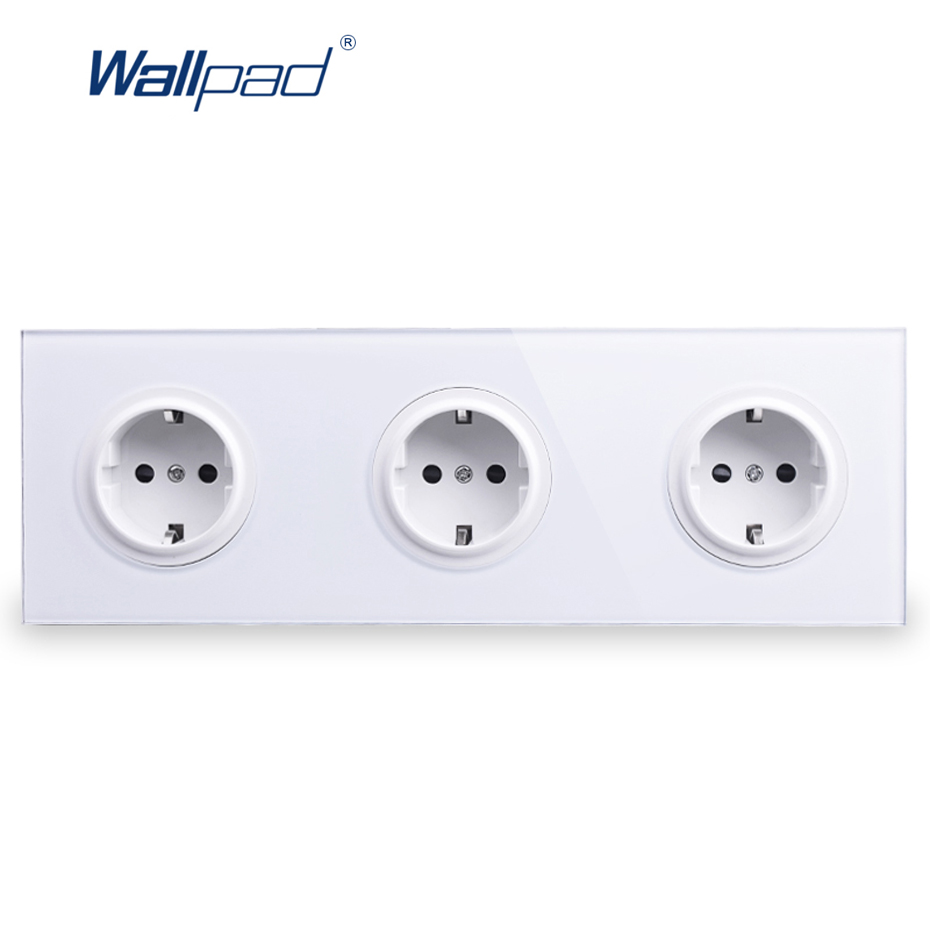 Triple EU German Socket Wallpad Luxury Tempered Crystal Glass Panel Electric Wall Power Socket Electrical Outlets For Home eu 2 pin german socket wallpad luxury satin metal panel eu 16a electric wall power socket electrical outlets for home schuko