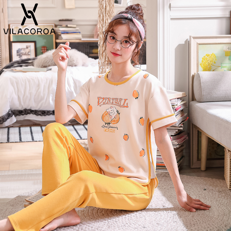 Summer Cotton Korean   Pajamas   For Women Printed Round Neck Short sleeve Top + Long Pant   Pajama     Sets   Sports Casual Pyjamas Women