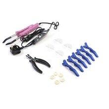 цена на Neitsi Hair Extensions Connector Pink Black UK plug & Hair Iron Tools(Pier, Brush, U Tips, Heat Protector Shield, Hair Clips)