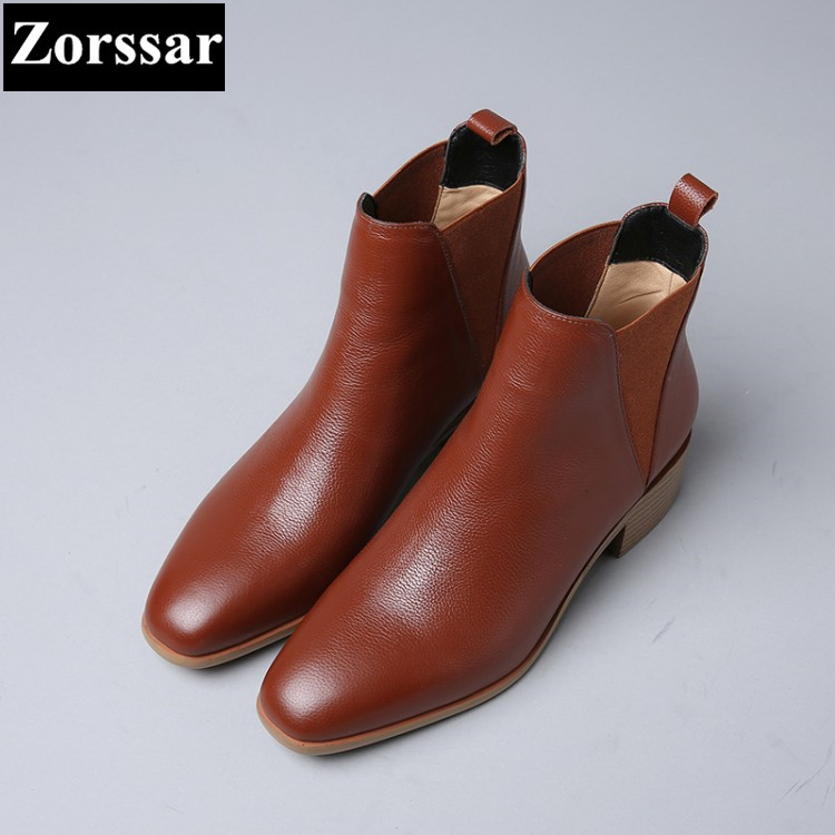 {Zorssar} 2017 NEW arrival fashion Retro Women Chelsea Boots pointed Toe low heel ankle Riding boots autumn winter female shoes