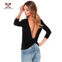 Women Tops O-Neck Long Sleeve Sexy Halter Back Cross Blouses Slim Fashion Bottoming Shirt Tops New Spring Autumn NC-599