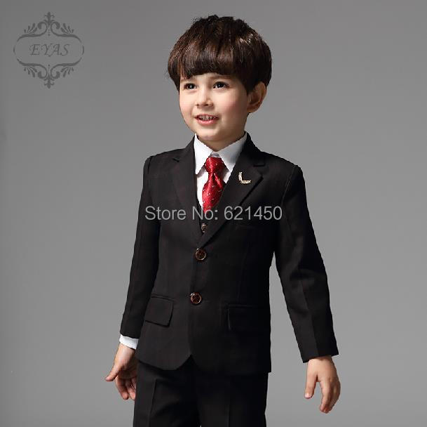Wedding Party Dress Boy Single Ted Formal Plaid Children Boys Costumes Little Suits