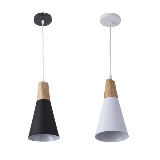 7W 12W Black White wooden Ceiling Led Pendant Light E27 Dining Room Hanging Lamps for Restaurant Coffee Bedroom Lighting