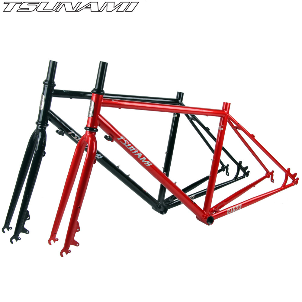 TSUNAMI Bicycle Frameset Renault 520 Steel 700c Road Bike 28-inch Long-distance Travel All-round Bike Frame 43/47/50cm