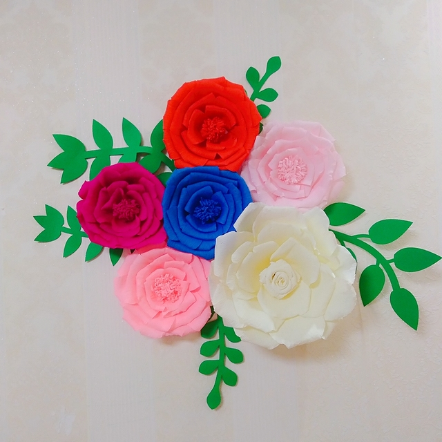 6PCS Assorted Crepe Paper Flower Set With 5PCS Leaves Gallery Wall ...