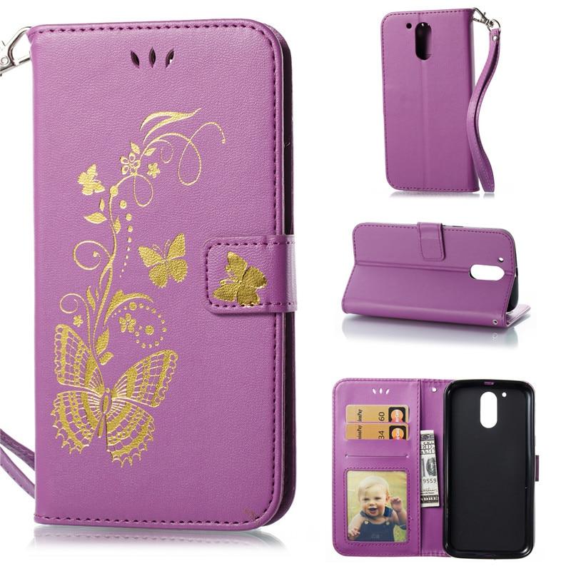 Flip funda para Motorola Moto G4 G4 Plus caso de oro de la mariposa ...
