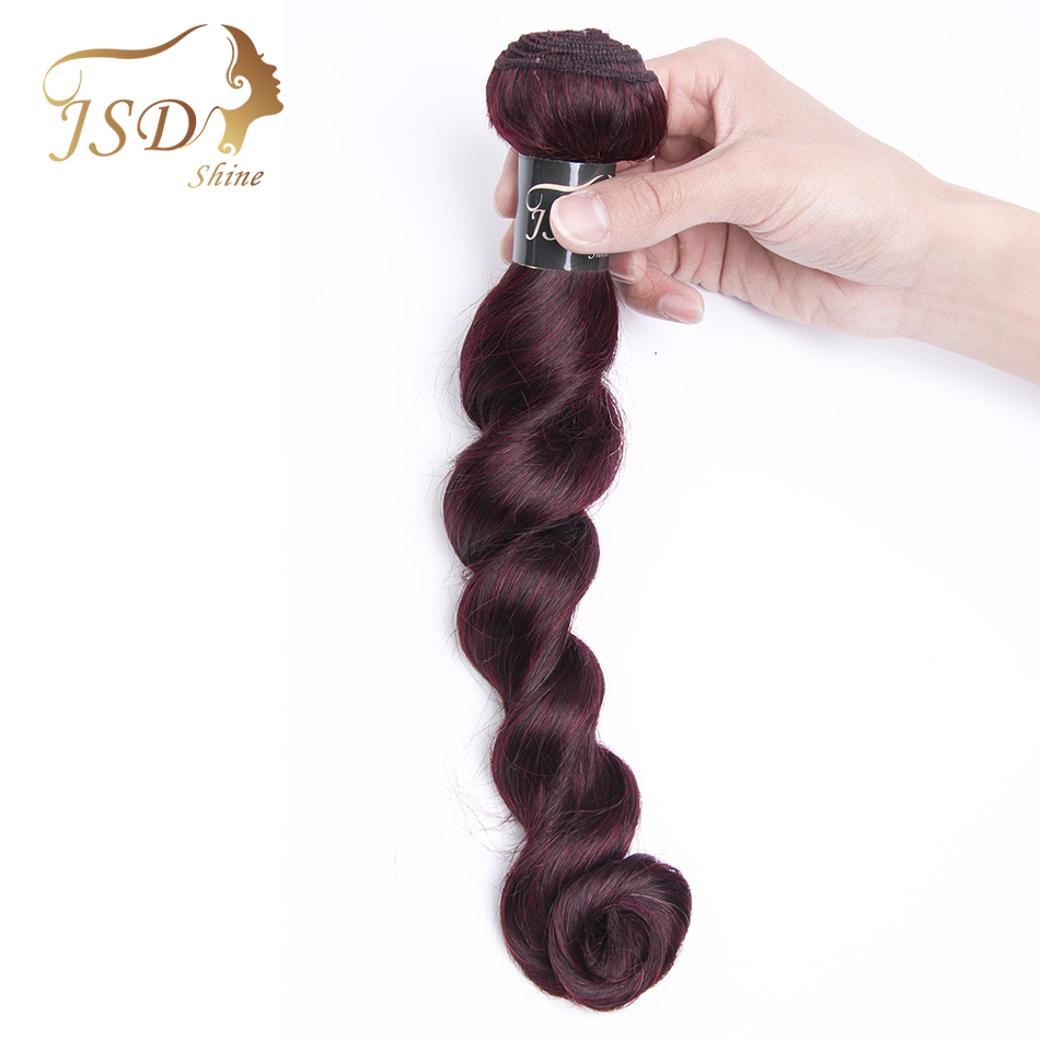 JSDshie Peruvian Hair Loose Wave 8-26 Inches Burgundy Human Hair Bundles 99j Red Color Non-remy Hair Extensions 1 Bundle