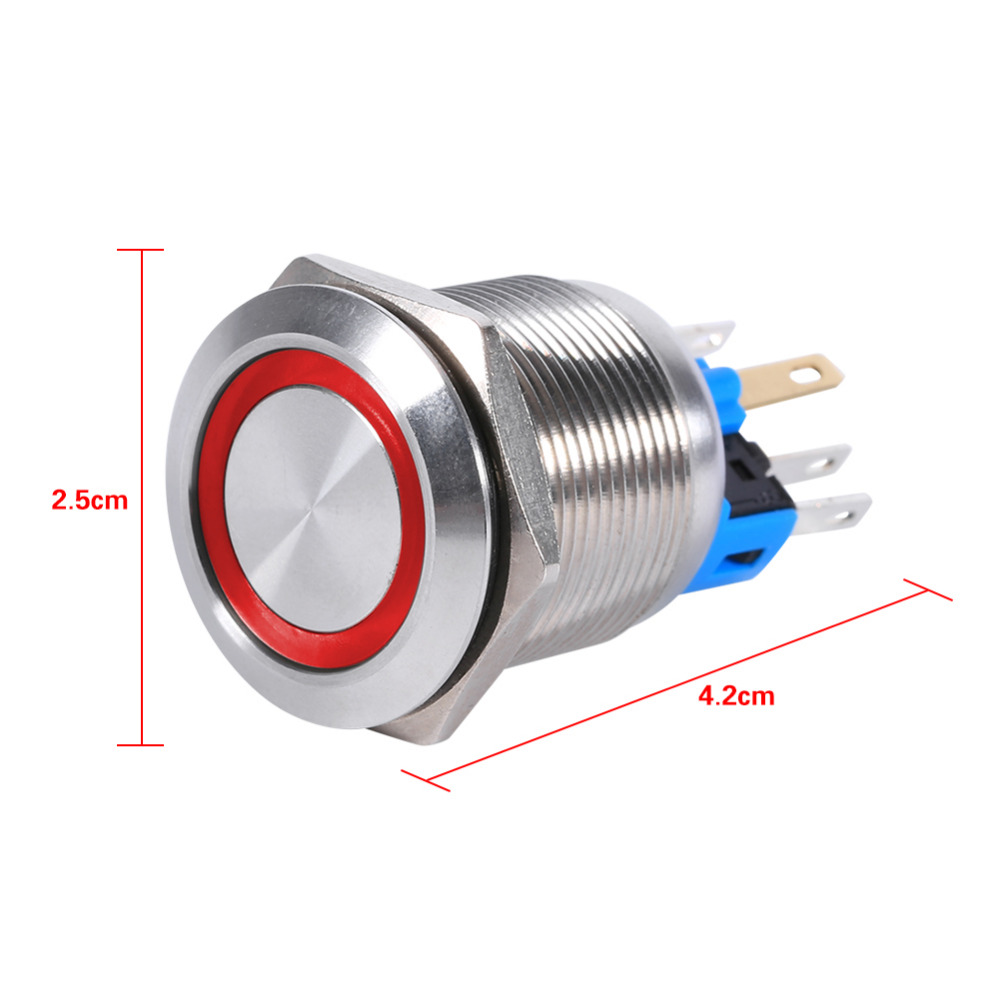 22mm 12V LED 6 Pins Waterproof Stainless Self locking Latching Push ...