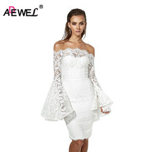 ADEWEL 2019 Spring Elegant White Flare Sleeve Women Lace Dress Vintage Bodycon Off Shoulder Sexy Cute Red Party Dresses