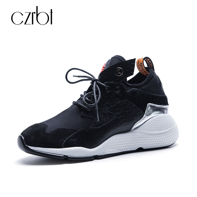 CZRBT Genuine Leather Women Shoes Street Fashion Platform Shoes Woman Comfortable Flat Heel Casual Shoes Korean Style Flat Shoes