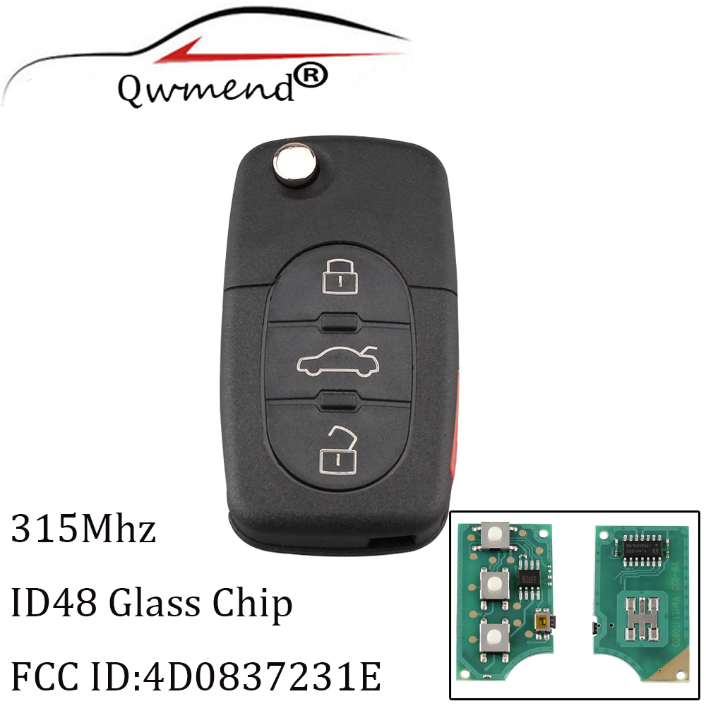 QWMEND 3+1Buttons Remote Key For Audi 4D0837231E For AUDI A4 S4 A6 A8 TT 1997 1998 1999 2000 2001 2002 2003 2004 2005 With ID48