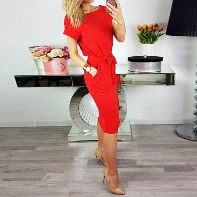 AIEnny Sexy Women Long Midi Dress Slim Waistband Bodycon Dress Summer Short Sleeve