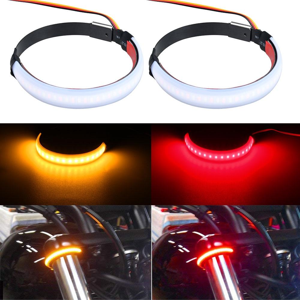 2 Pcs Motorcycle Front Fork Turn Signal Light Waterproof Motobike LED Indicators Light Lamp For Toyota Honda Harley