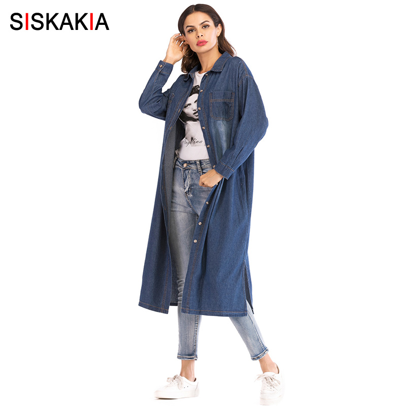 Siskakia Womens Denim Trench Coat Fall Autumn 2018 Single