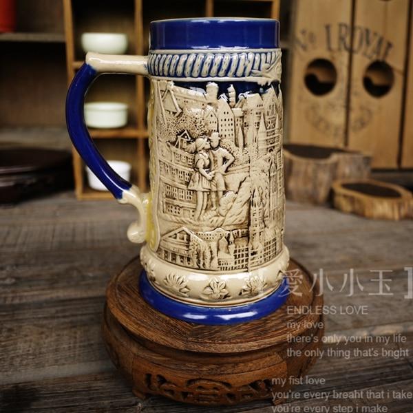 2016 New Arrival Ceramic German Beer Mug World Cup Theme Hand Painted Mugs Embossed Pattern Coffee Cup 16*20cm