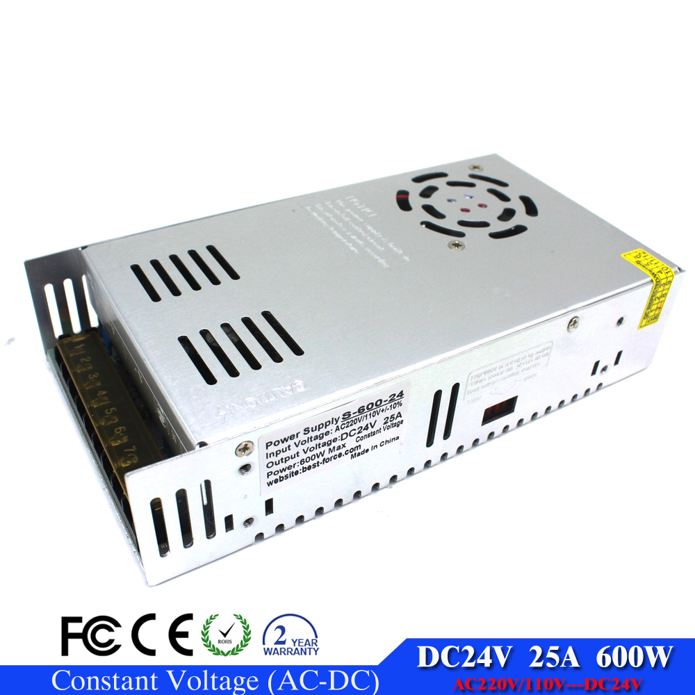 New model 24V 25A 600W Switching power supply Driver Transformer 110V 220V AC dc SMPS for