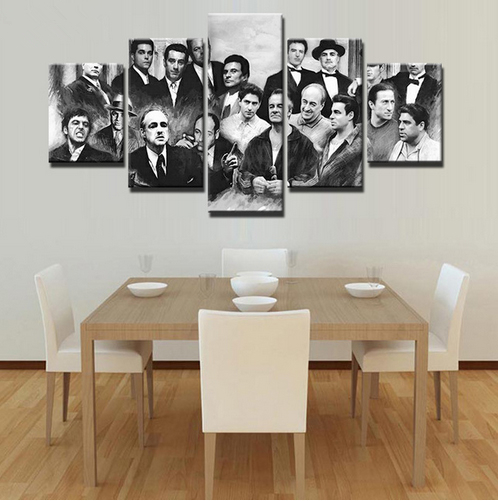 Modern Canvas Painting Home Decor 5 Pieces Retro Movie Characters Pictures Wall Art HD Printed Gangsters Poster Frame image