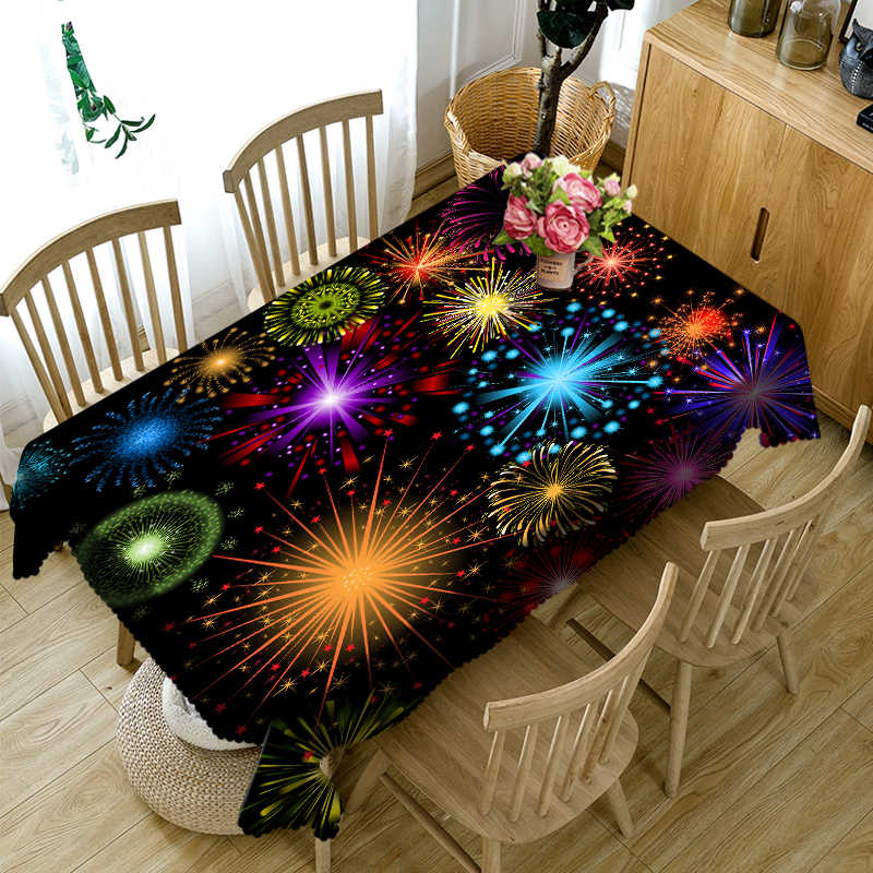3D Tablecloth Christmas Color Line Gorgeous Fireworks Washable Cloth Thicken Rectangular and Round Table Cloth for Wedding