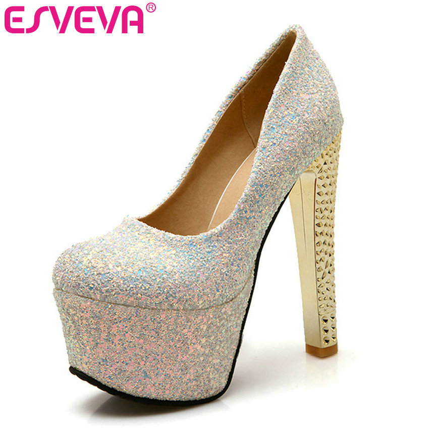 ESVEVA Platform Thick High Heel Slip on Ladies Summer Shoes Sexy Party Shining Glitter Woman Pump Ladies Wedding Shoe Size 34-43 стоимость