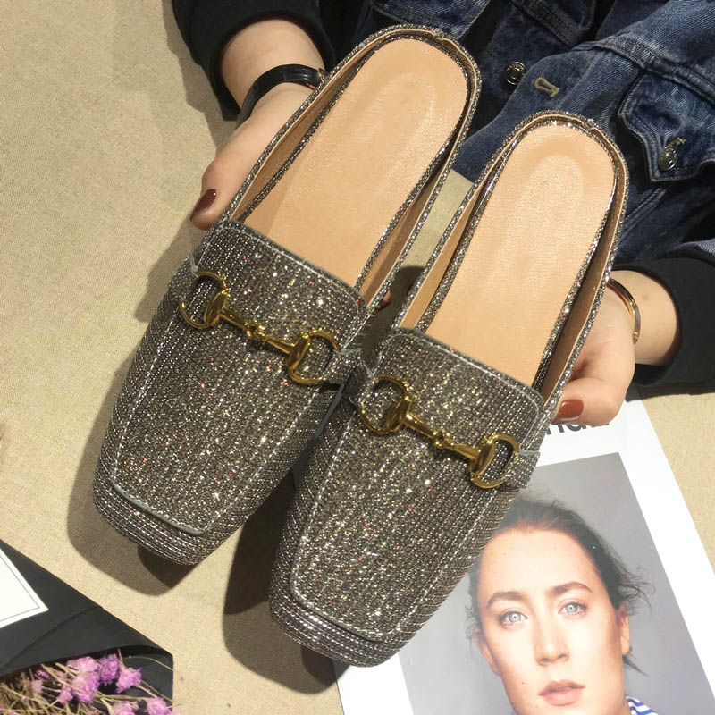 Bailehou Ladies Flat Mules Women Slippers Bling Slides Shoes Woman Fashion Metal Black Square Toe Ladies Slip On Slippers Casual
