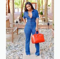 VAZN 2018 New Fashion Casual Women Denim Jumpsuit Full Sleeve Turn down Collar Sashes Women Jumpsuit SY0806