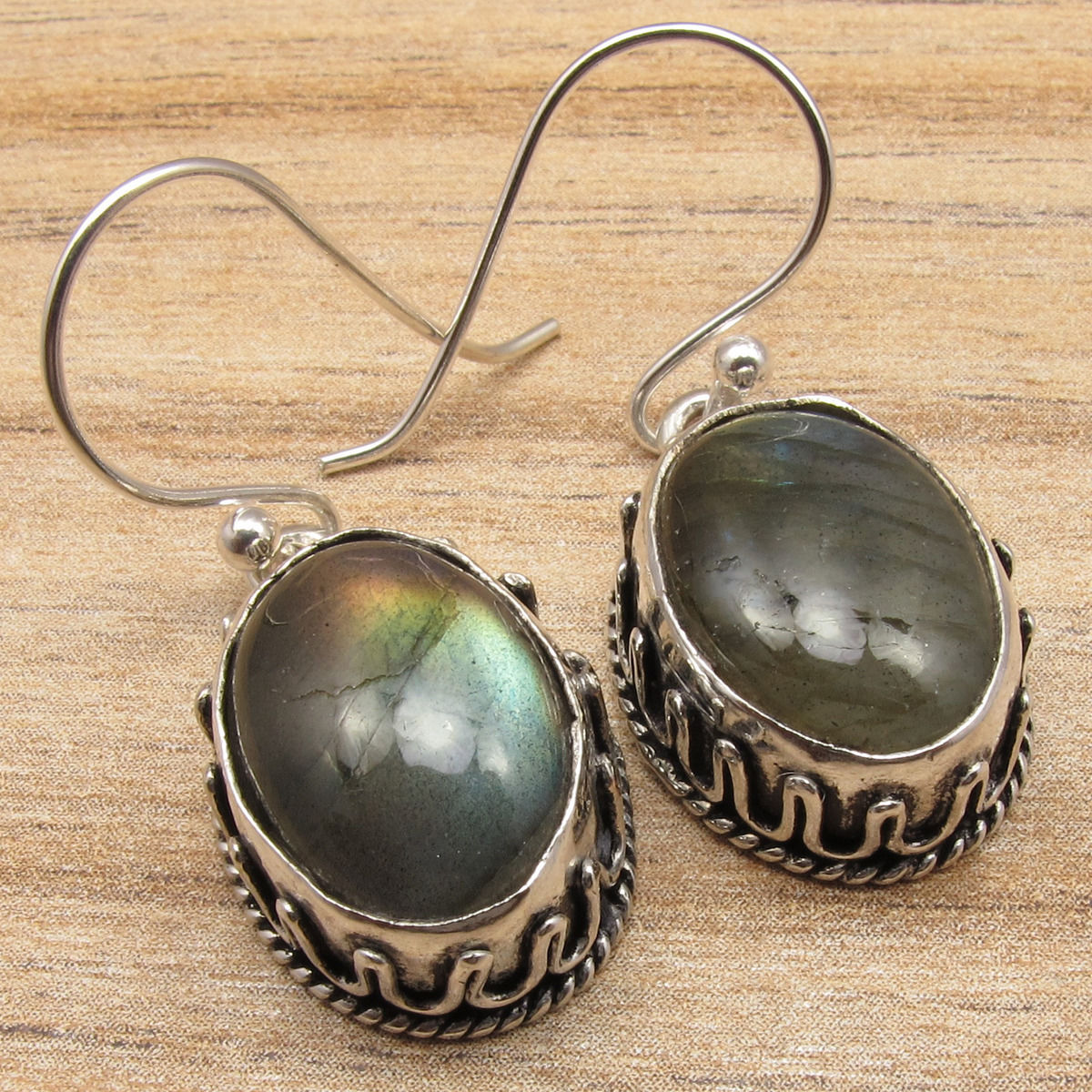 NEW EARRINGS Blue Fired LABRADORITE Gem Stone Silver Plated Jaipur Jewelry