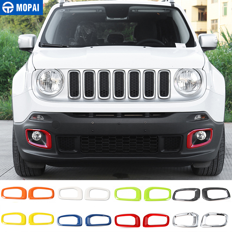 MOPAI 1 Set ABS Car Exterior Front Fog Light Lamp Decoration Trim Cover Stickers For Jeep Renegade 2015-2016 Car Styling mopai new arrival car exterior rear triangle glass decoration cover stickers for jeep compass 2017 up car styling