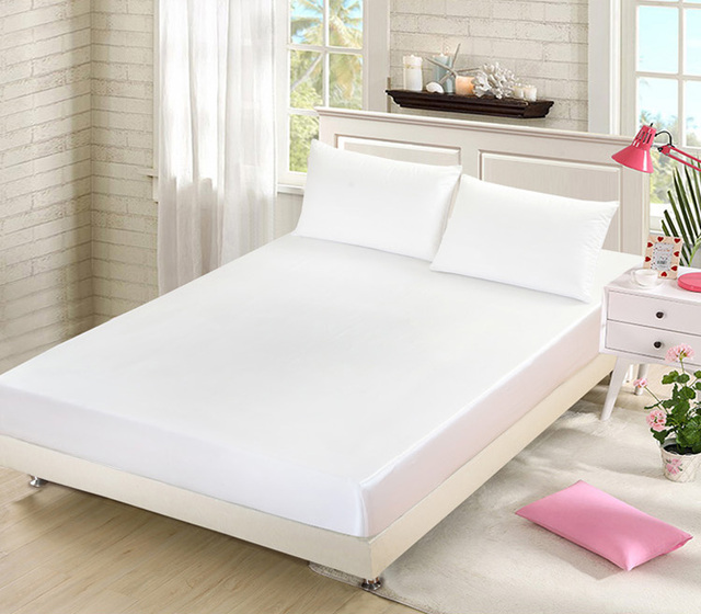 buy solid white fitted sheet silk satin mattress cover coverlet bedspread bed. Black Bedroom Furniture Sets. Home Design Ideas